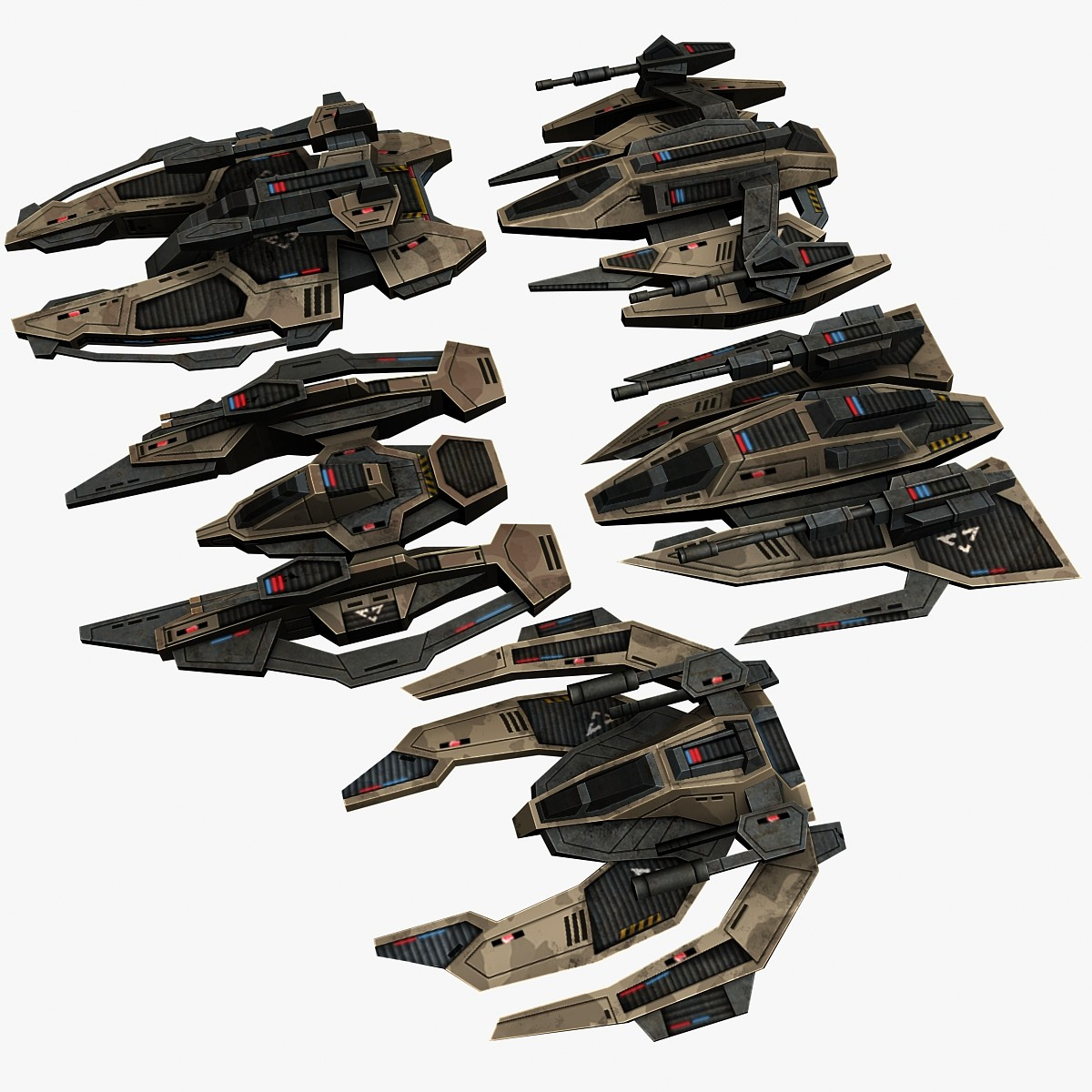 3d model of 5 military space