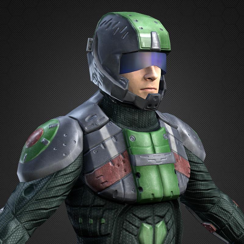 3d model sci-fi armor male character