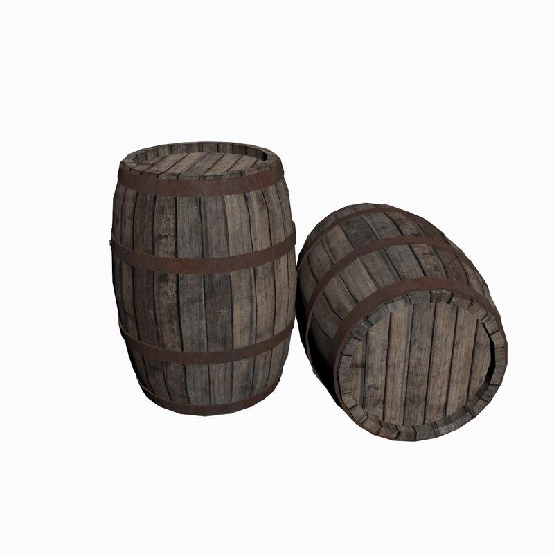 obj wooden barrel