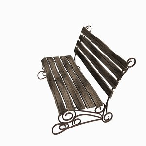 3d old wooden bench