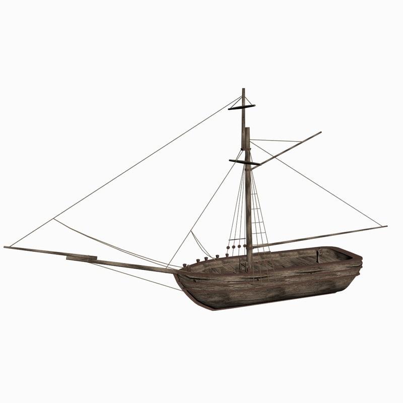 3d model one-masted sloop