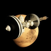 mars spacecraft engines 3d max
