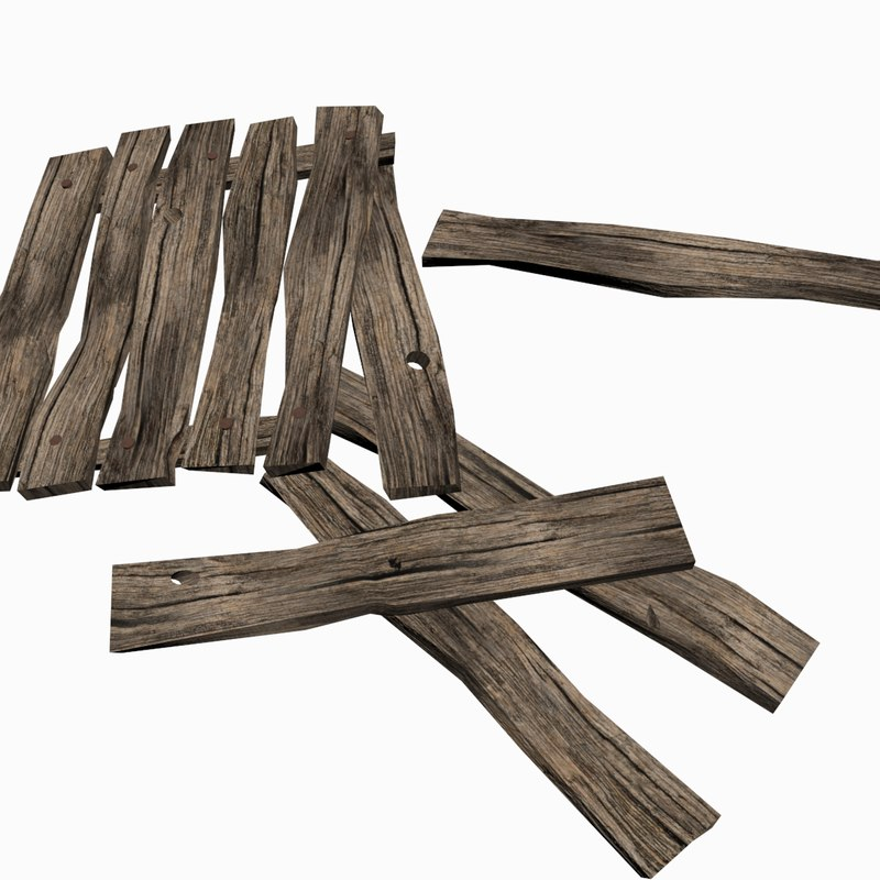 max low-poly old wooden planks