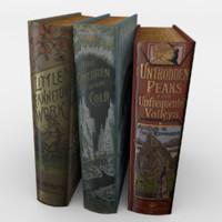 3d model realistic book set 1