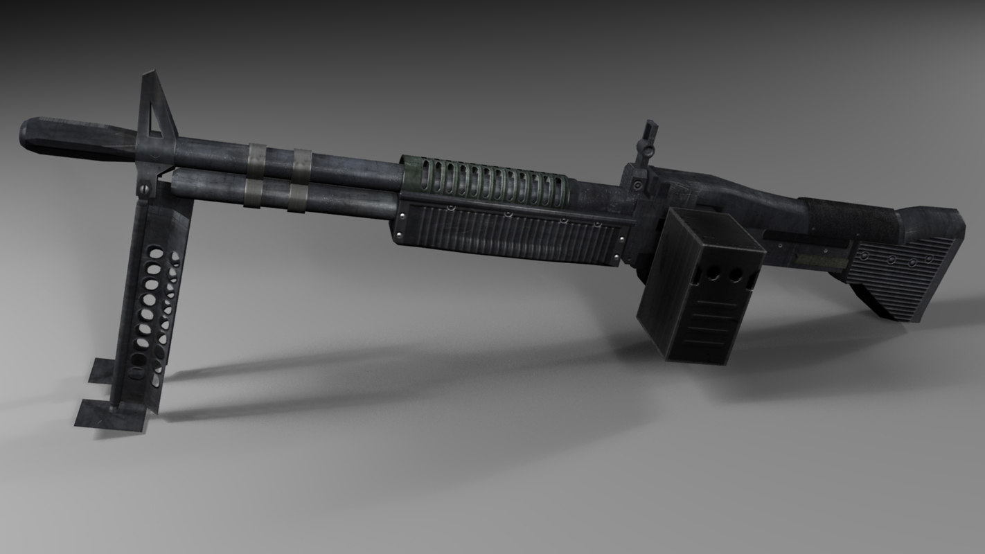 machine gun 3d max