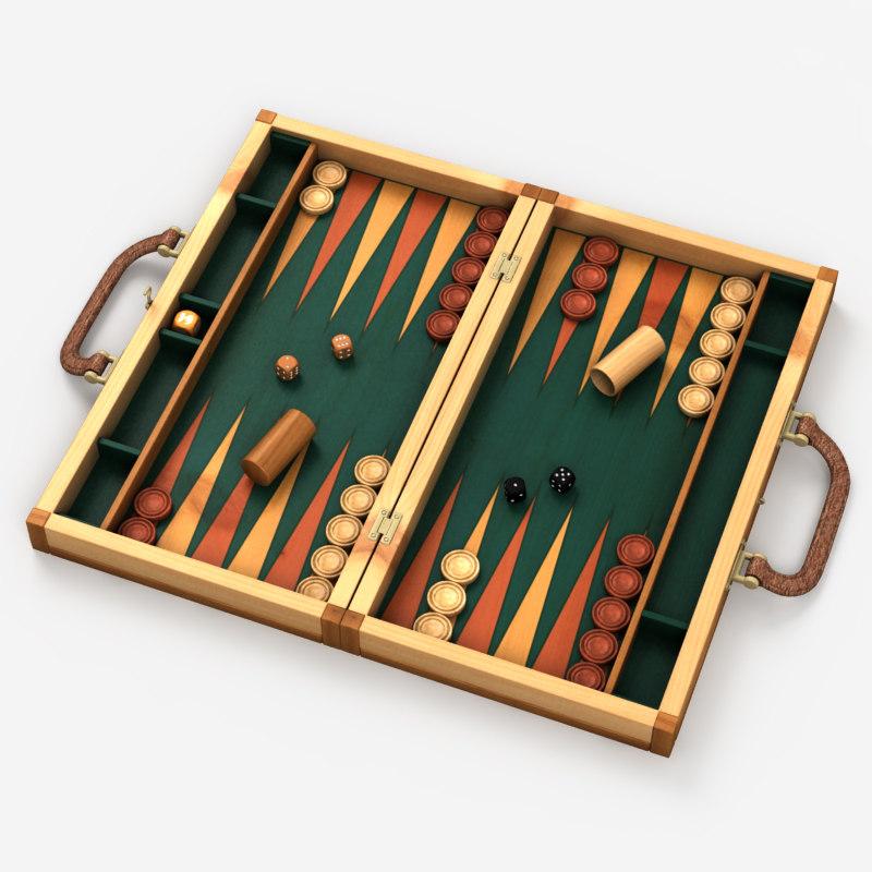 3d backgammon board dices model