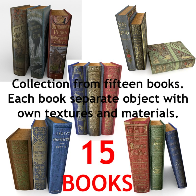 realistic books modeled 3d model