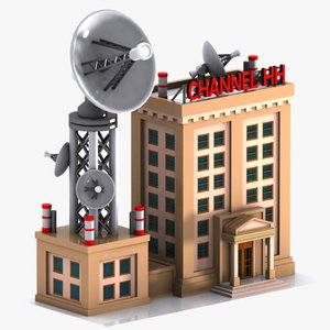 3d cartoon television station model