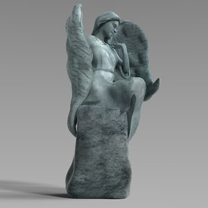 bronze statue angel 3d obj