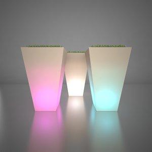 3d model of illuminated planters