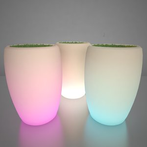3d model illuminated planters 3