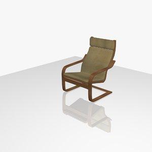 3d model ikea lounge chair poÄng