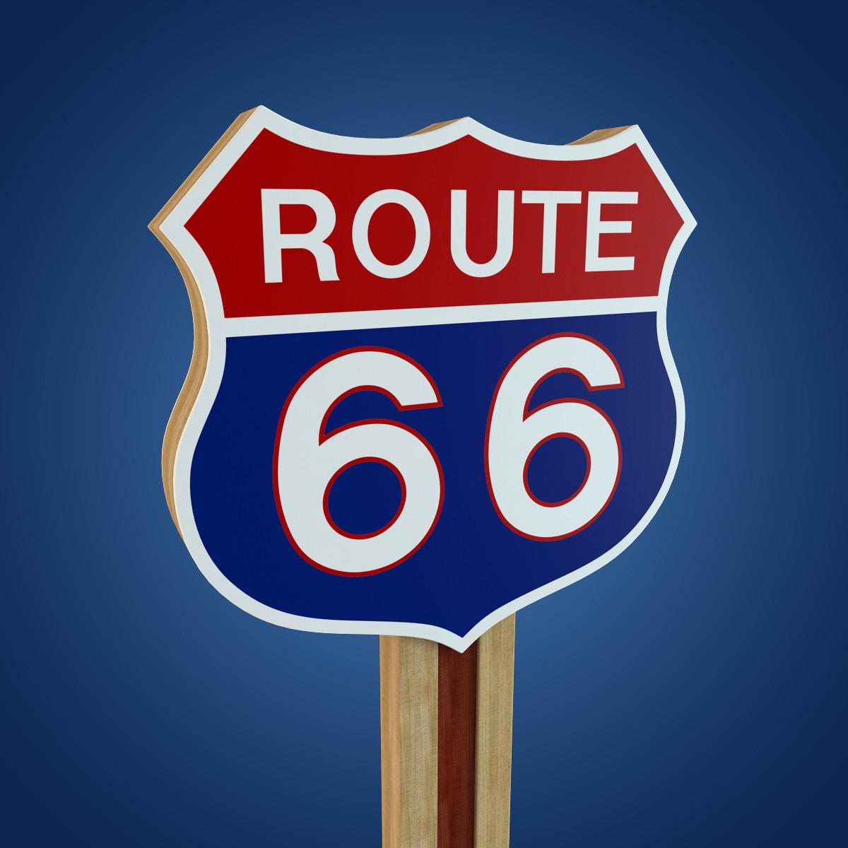 3d route 66 sign model