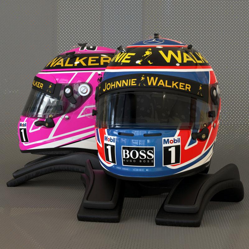 racing helmet jenson button 3d 3ds