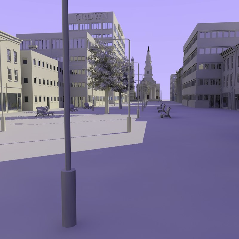 3d shops street model