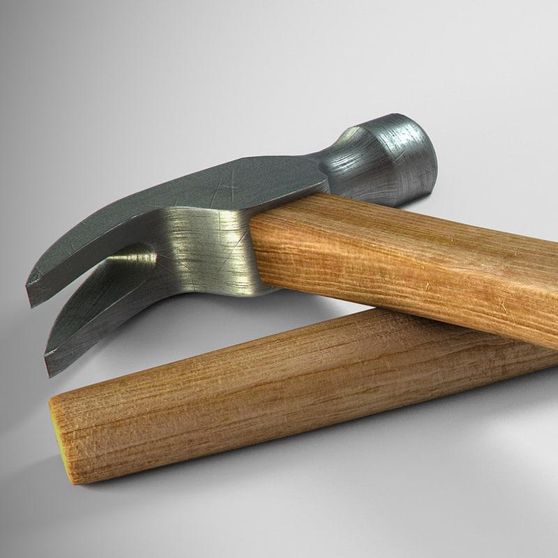 3d hammer wooden handle