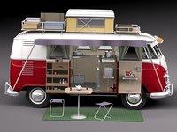 3d model van volkswagen 1950