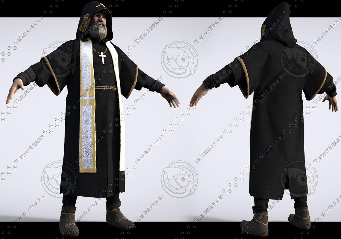 medieval monk 3d model