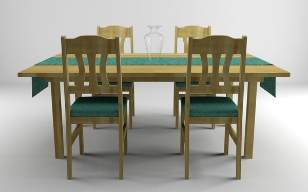 wooden table chairs set 3d ma