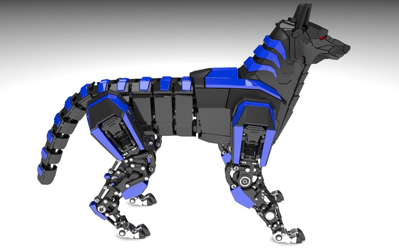 robot wolf 3d c4d