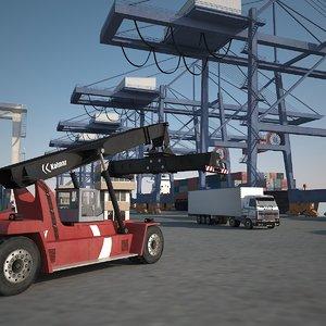 port cargo crane 3d model