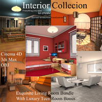 interior packed living 3d model