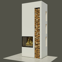 3d fireplace wood bookcase model