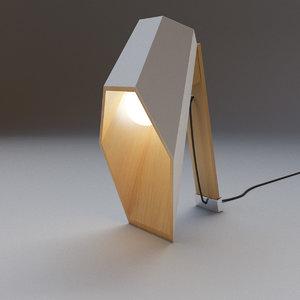 3d model wood desk lamp