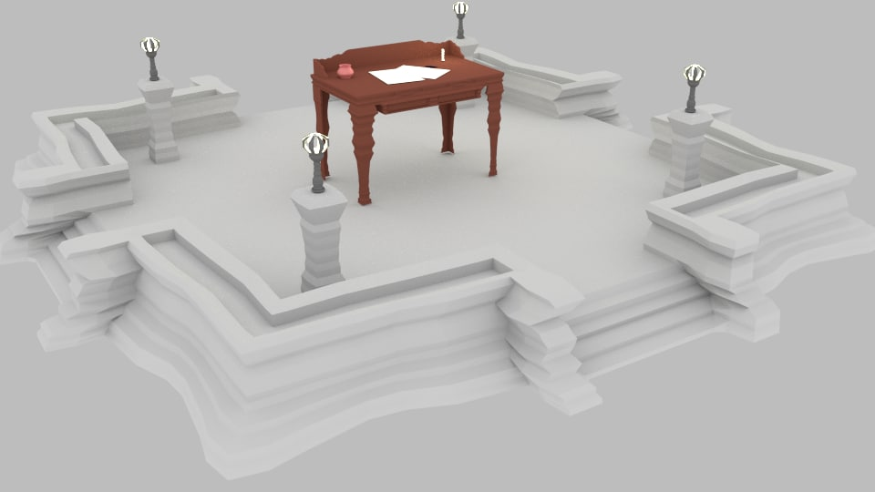 3d model table old podium