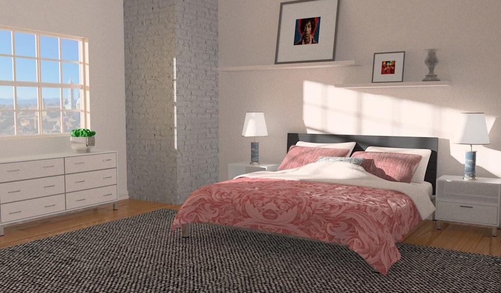 3d model simple bedroom