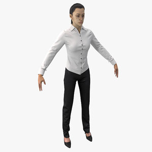 3d woman wearing shirt slacks