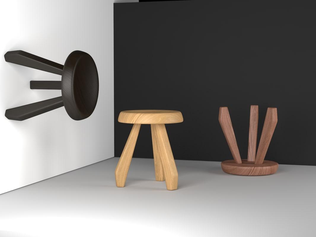 3d model tabouret berger