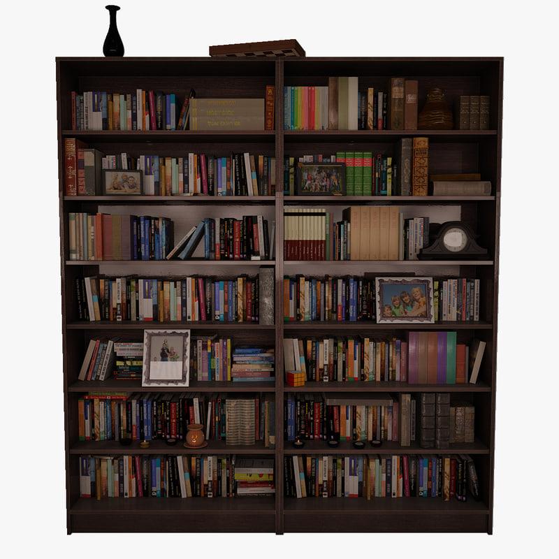 bookshelf 2 books obj