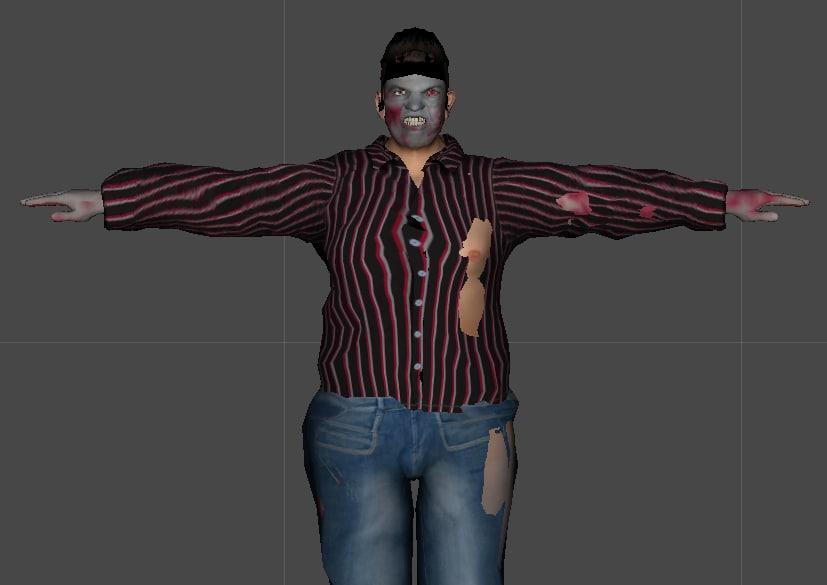 3d fat zombie