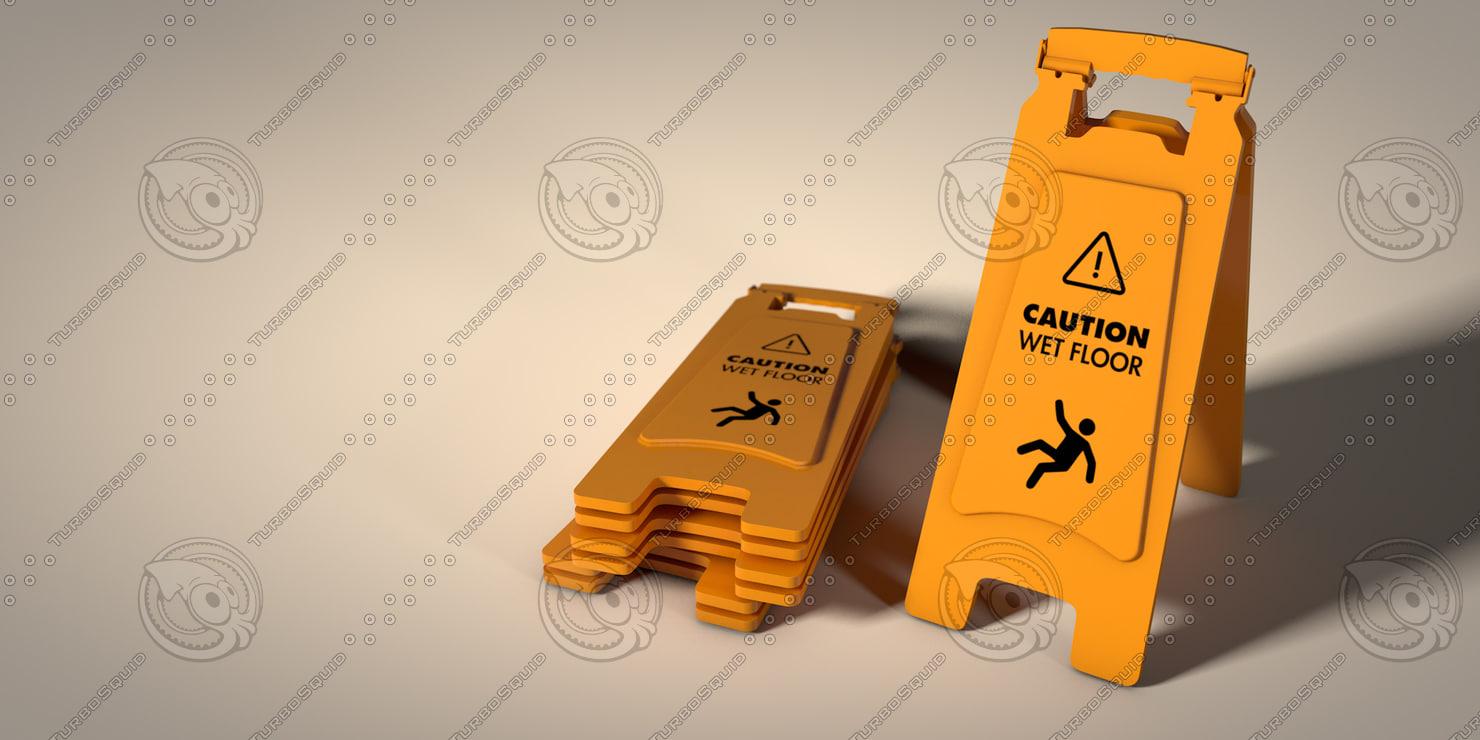 caution wet floor sign c4d