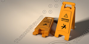 caution wet floor sign c4d