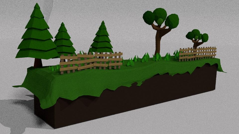 3d cartoon 2d landscape model