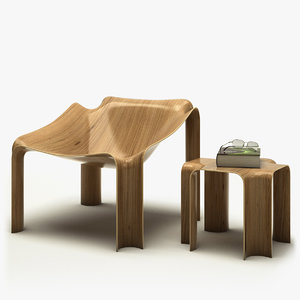 3d model chair table pierre -
