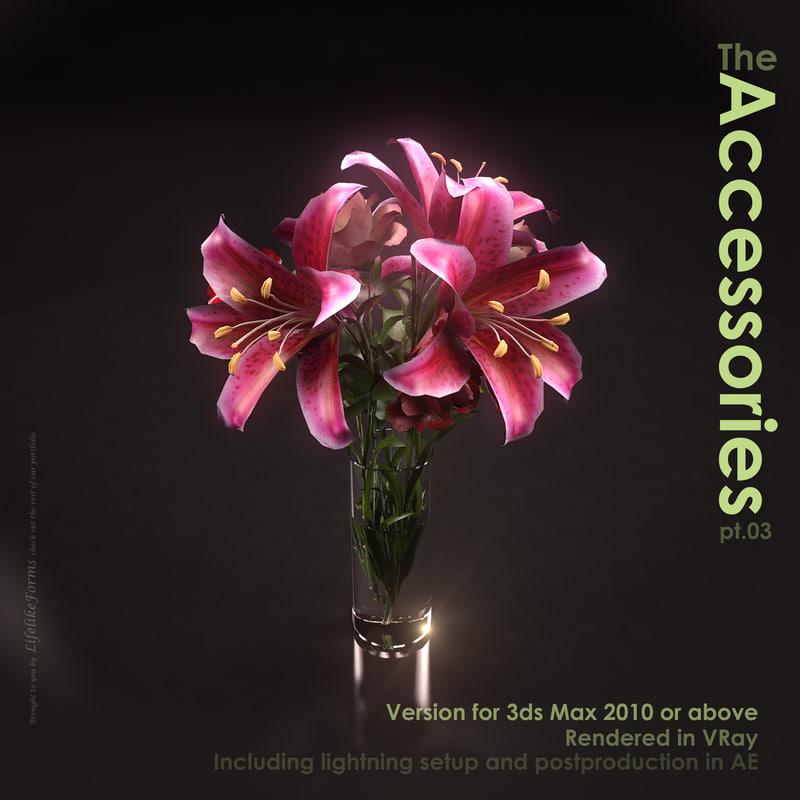 rose vase lillies max