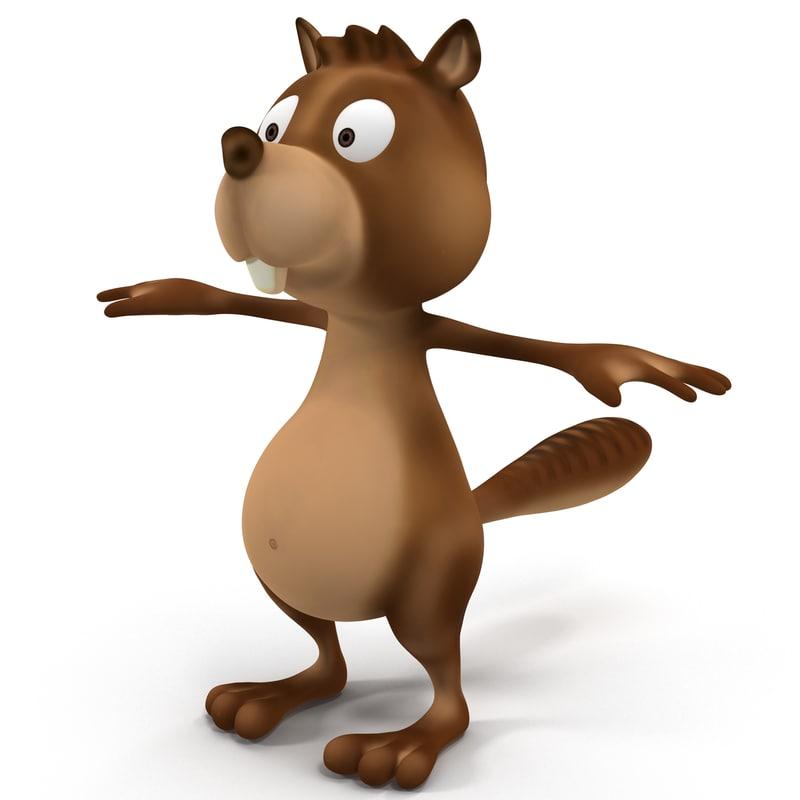 beaver cartoon 3d model