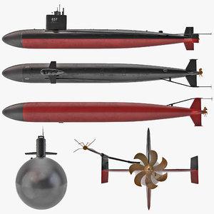 uss sturgeon submarine 3d model