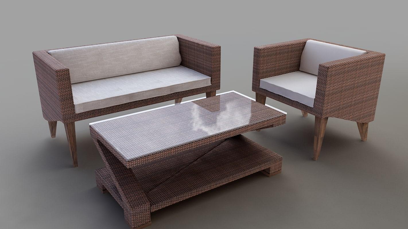 realistic rattan furniture group 3d model