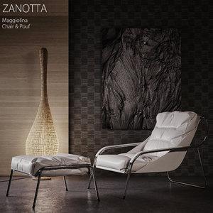 3dsmax zanotta maggiolina chair pouf
