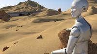 Planetary Desert Scenario + Robot (fully rigged) + Highway + Jupiter