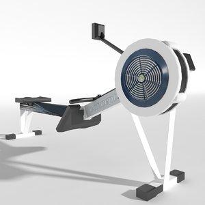 3d model of gym equipment rowing machine