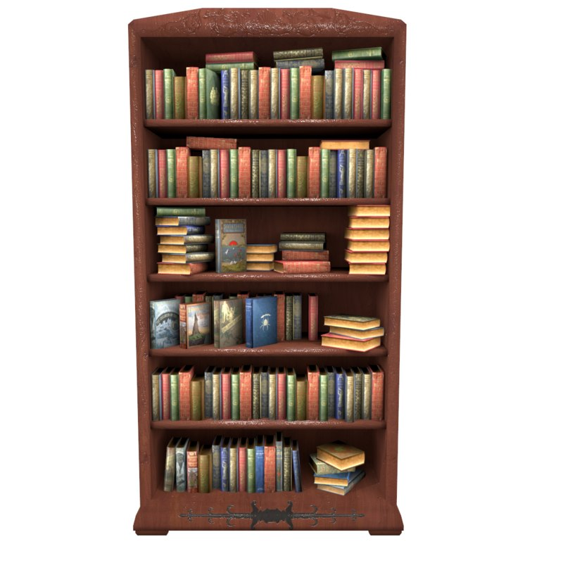 bookcase with books low poly