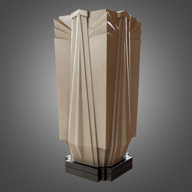 obj art deco vase ready