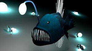 3d blend angler fish