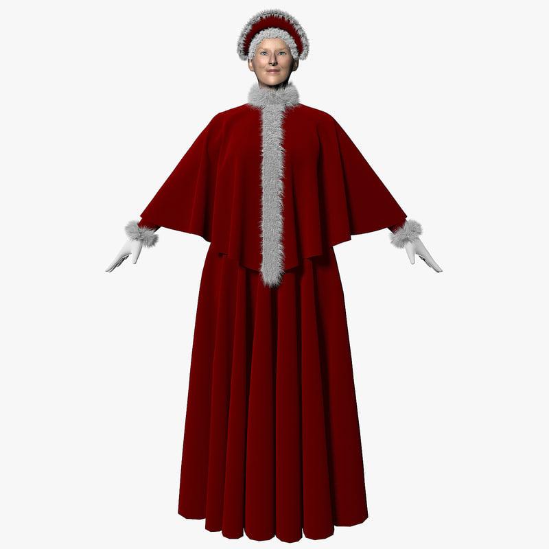 3d model mrs santa claus