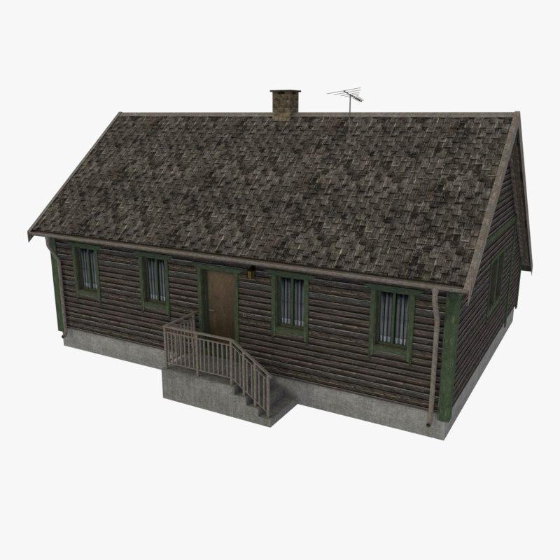 log cabin cottage 3d obj